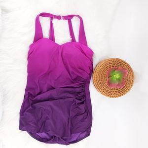 Lands' End Swim - Lands end slinder tunic  swimsuit purple ombre
